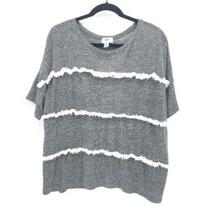 Old Navy Grey Striped Tassel Blouse XL